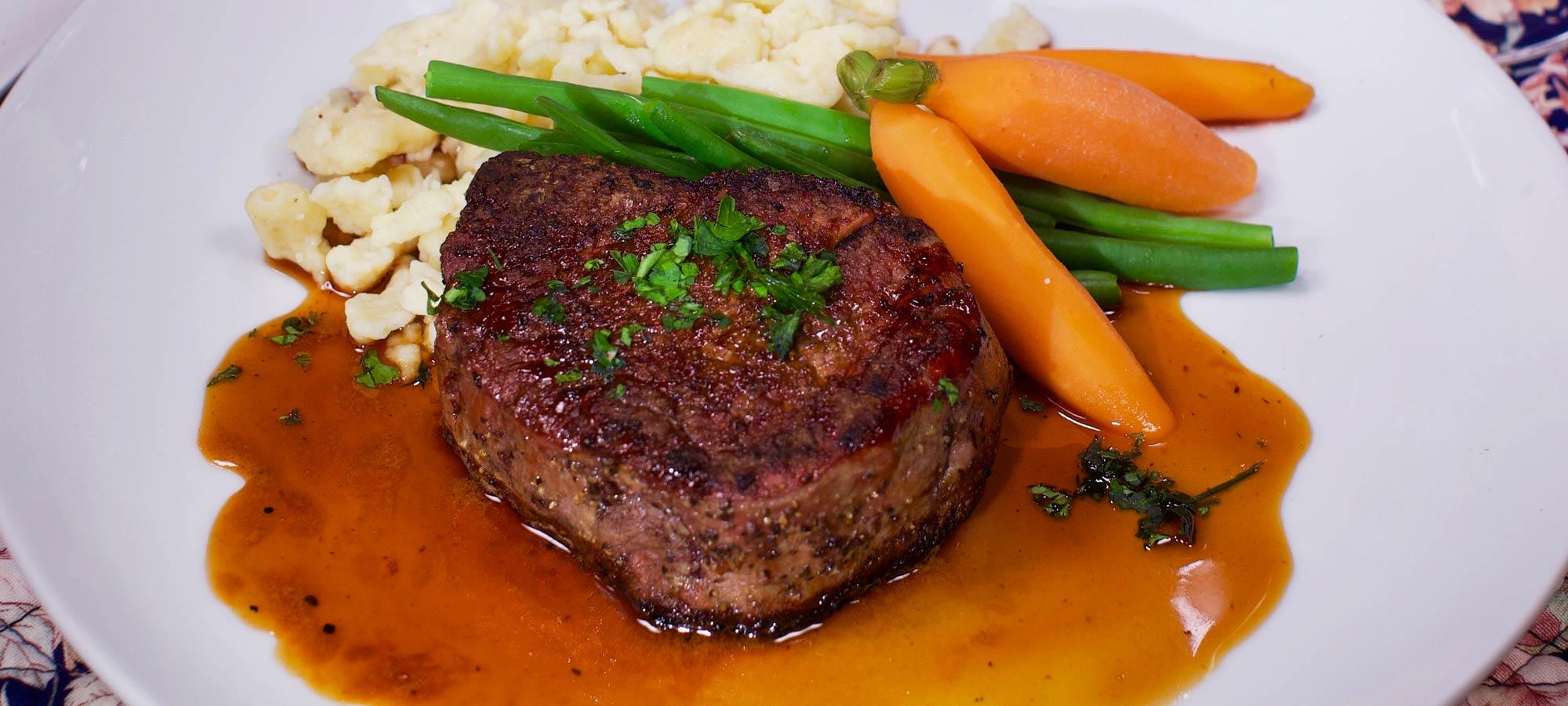 Beef Tenderloin Sauerbraten at countryman's Pleasure Restaurant in Rutland, VT